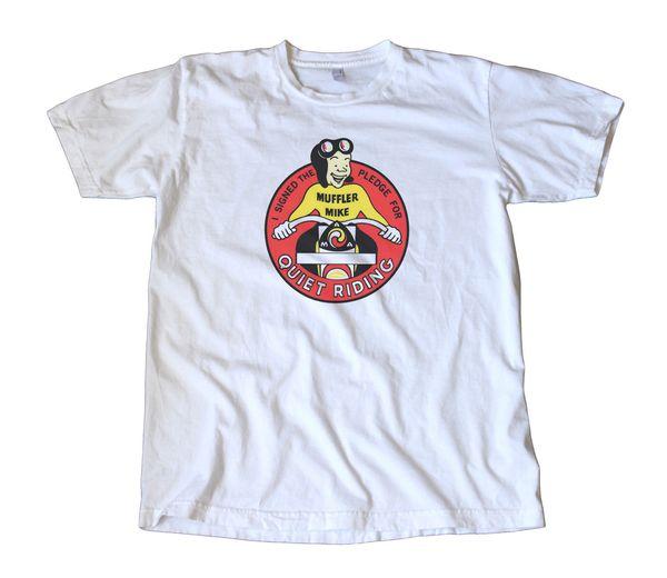 Vintage Muffler Mike Quiet Riding Decal T-Shirt - American Motorcycle Assn, AMA summer Hot Sale Men T-Shirt Top New Tee Print