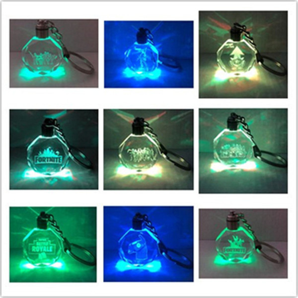 Game Fortnite LED Crystal Key Chain Battle Royale Cosplay LED Key Ring Fortnight Fans Favor Gift Keychains Pendants Phone Bags Accessory