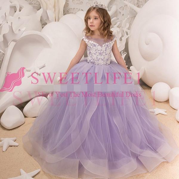 Elegant 3D Flower Kids Pageant Evening Gowns 2018 Ball Gown Flower Girl Dresses For Weddings First Communion Dresses For Girls