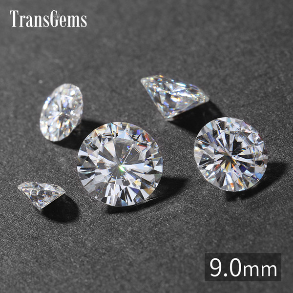 TransGems 9mm 3 Carat GH Color Certified Man made Diamond Loose Moissanite Bead Test Positive As Real Diamond Gemstone