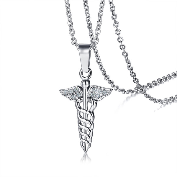 e221b80dd12 CZ Stones Caduceus Pendant for Women Necklace Stainless Steel Medical  Symbol Female Casual Jewelry 20