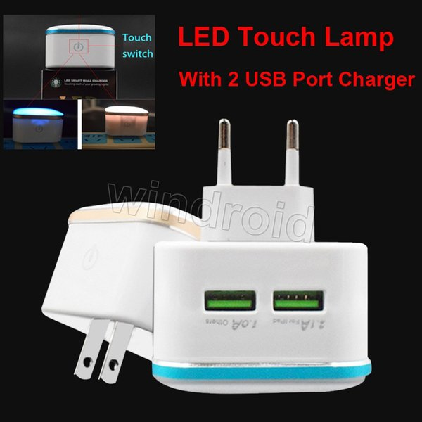 Smart LED Night Light With Dual 2 USB Plug Wall Charger EU US Dusk Mobile Phone Charging Wall touch Lamp 2.1A 1A Adapter + retail box Cheap