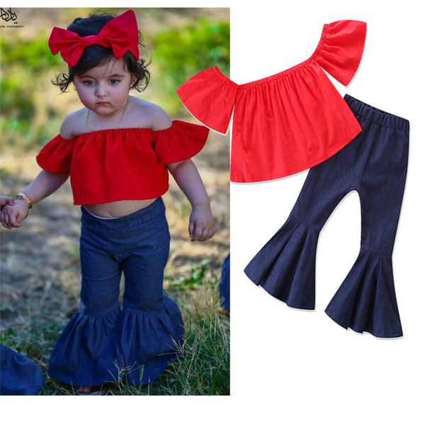 Kids Girls Sets Baby Girl Off SHoulder Shirt + Flare Pants 2pcs Suits 2018 Infant Princess Outfits Children Clothes Boutique D845