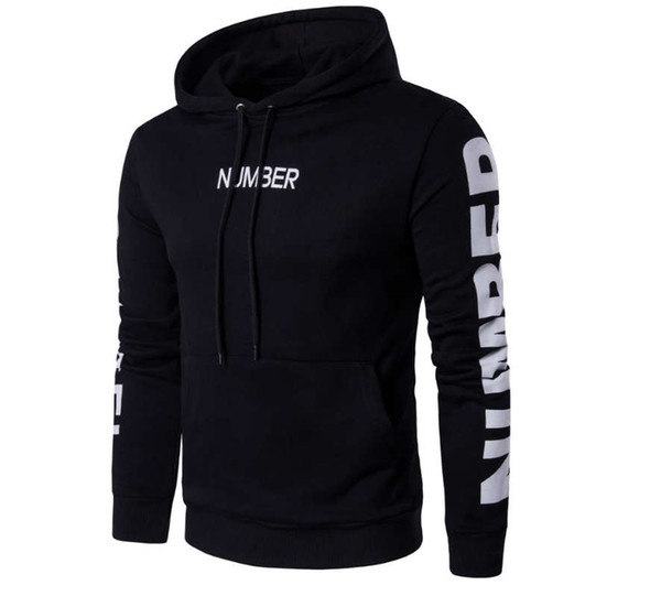 2018 Hot popular men's sweaters best-selling new men's letter print hooded pullover sports jacket Slim men's sweater wholesale sales