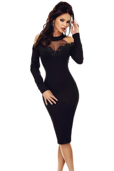 71b078c3de82 Compre Vestidos De Fiesta Para Mujer De Manga Larga De Las Mujeres Elegante  Negro Crochet Apliques De Malla De Inserción Ahueca Hacia Fuera El Hombro  ...