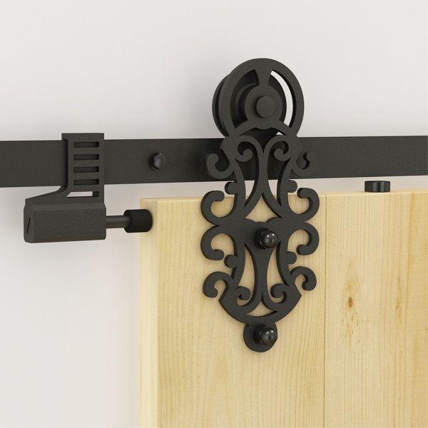 top popular Ornate Design 5-16FT Single Wood Sliding Barn Door Hardware Kit Royal Black Steel Sliding Barn Door Hardware 2021
