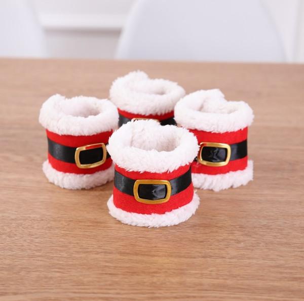 Servilletero con hebillas de cinturón Decoración navideña Banquete de banquete Mesa de comedor Decoración Rojo Papá Noel servilleta navideño de Navidad CT19