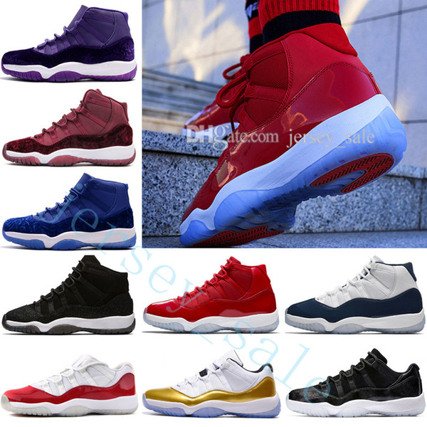 NOUVELLE 11 11 s mens Basketball Chaussures sneakers Femmes Bred Espace Jam 45 Gym Rouge Heiress Velours 11s XI COMME 82 96 Chicago Concord Georgetown Laine
