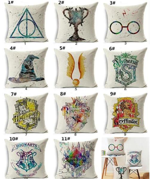 50 pcs Harry Potter Coxim De Linho De Algodão Cobre Cálice de Fogo The Deathly Hallows Início Decorativo Fronha para Sofá G344