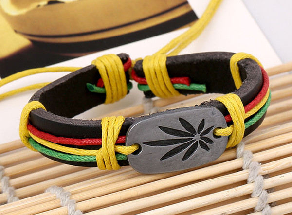 Jamaican reggae red, yellow and green hemp leaf bracelet manufacturer direct marketing leather accessories