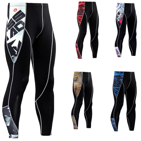 Men Compression Tights Quick Dry Streak Pants Leggings Running Tights Jogging Sports Gym Fitness Workout Trousers PB003