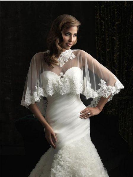 New style Shawl High Neck Lace Applique Tulle Wedding Bolero for Bride Bridal Jackets Wedding dress accessories