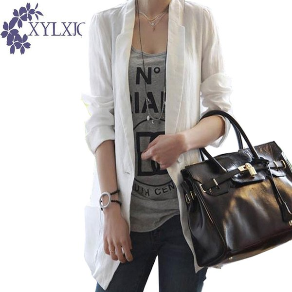 XYLXJQ Linen Suit Jacket Women's Blazer 2018 Spring Korean Long Cotton and Linen Casual Loose Women Blazers and Jackets JB181