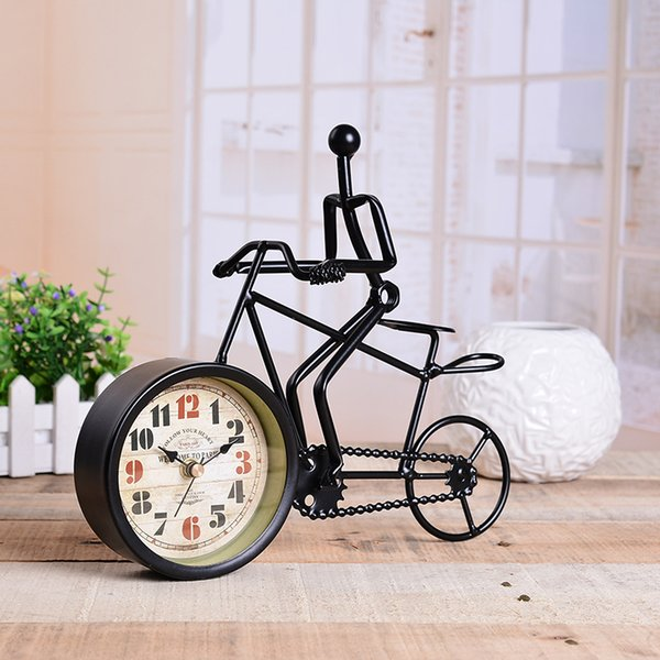 Rustic Metal Bicycle Desk Clock Bike Clock Home Decoration Table Ornament Charm Antique Style Ideal For Gift