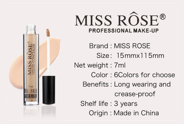 Dropshipping New Miss rose professional makeup 6 colors concealer 7ml gives skin instant radiance in stock