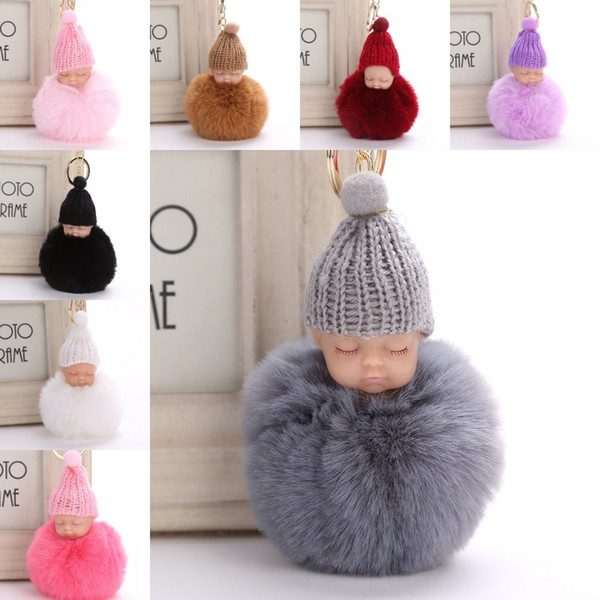 top popular Sweet Fluffy Pompom Sleeping Baby Key Chain Faux Rabbit Fur Pom pon Knitted Hat Baby Doll Keychain Car Keyring Toy Trendy Gifts 2021