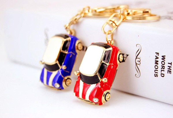 Cute Enamel Car Key Chains Holder Crystal Rhinestone HandBag Pendant Fashion Keyrings Keychains