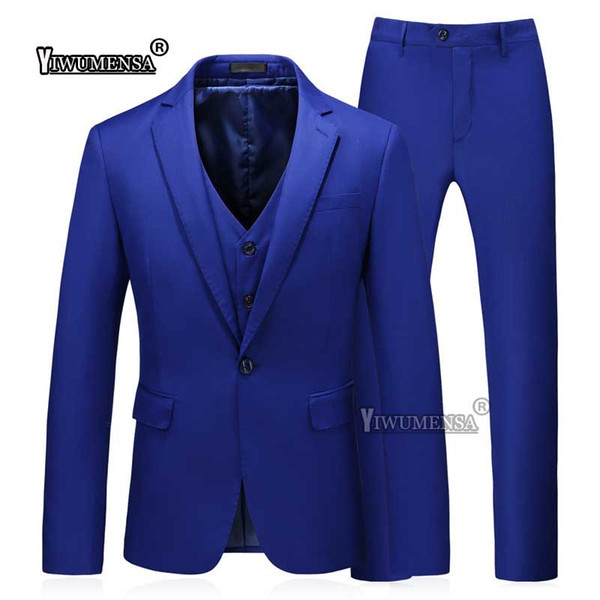 yiwumensa Costume Homme Mariage Royal Blue 3 Piece Wedding Groom Suit for men Custom Made Slim Fit men suits Business 2018