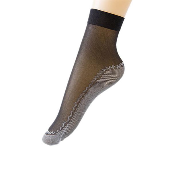 Women Velvet Silk Summer Socks Cotton Bottom Soft Anti -Slip Sole Massage Short Ankle Transparent Thin Socks 10 Pairs /Lot