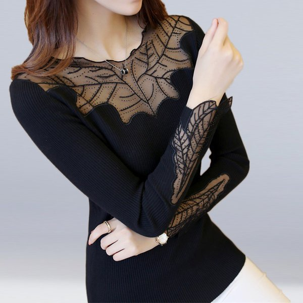 2018 New Fashion Women Knitted Sweater Slim Lace Stitching Bottoming Shirt Elastic Cotton Casual Slim Pullovers