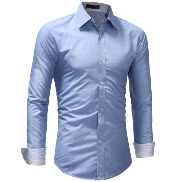 2018 New Men Shirts Simple Business Long Sleeve Turn-Down Collar Male Shirt Solid Color Slim Fit Popular Designs Shirt XXXL