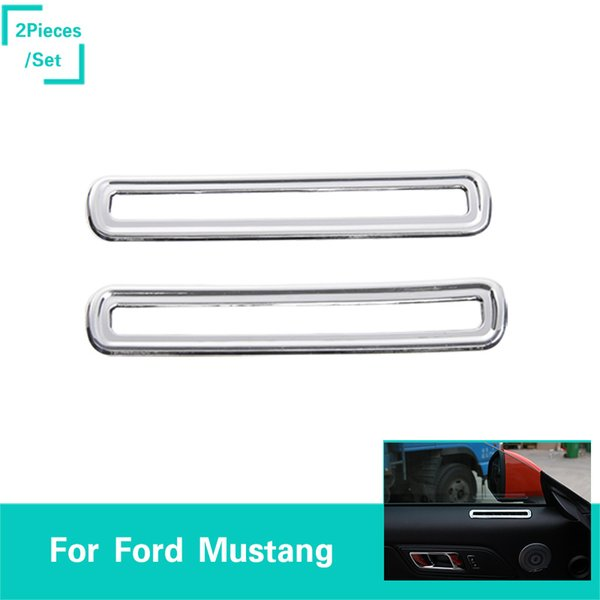 Chrome Door Vent Decoration Circle ABS Decoration Trim Ring Fit Ford Mustang 2015-2016 High Quality Auto Interior Accessories