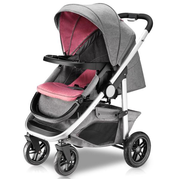 Luxury Baby Stroller Can Sit Can Lie High Landscape Portable Foldable Baby Pram 4 Wheels Suspension Pushchairs Kinderwagen