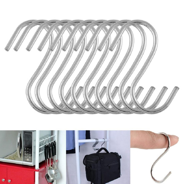 10pcs Powerful Stainless Steel S Shaped Hanger Hook Kitchen Clothing Hanger Hooks Railing Clasp Holder Hooks For Pot Hanging