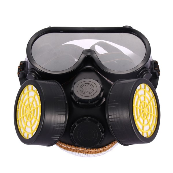 High Quality Safety Anti-Dust Spray Chemical Gas Dual Cartridge Respirator Paint Filter Mask PVC Glasses Set Black