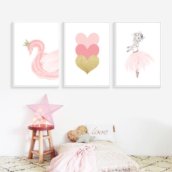Nordic Style Kinder Dekoration Ballett Poster Rosa Schwan Wandkunst Leinwand Malerei Poster Und Drucke Baby Mädchen Zimmer Dekor Ungerahmt