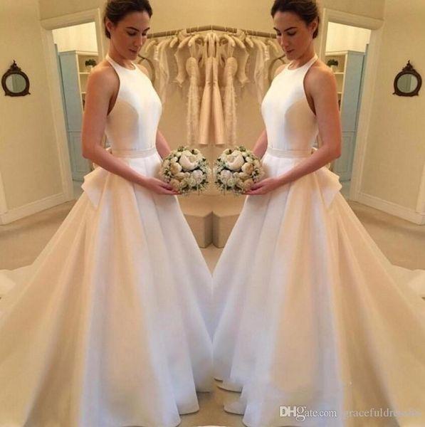 High Quality Halter Neck A-line Satin Wedding Dresses Zipper Back Chapel Train Bridal Dresses Wedding Gowns Robe De Mariee
