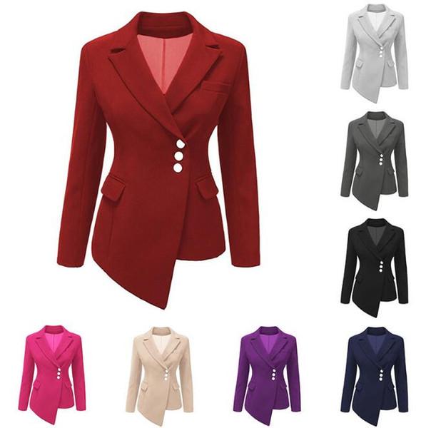 9 Couleurs Femmes Costumes Slim Blazers Lady Costume D'affaires Formelle Manteaux Bureau Cardigan Irrégulière Tops Casual À Manches Longues Veste CCA10330 6 pcs