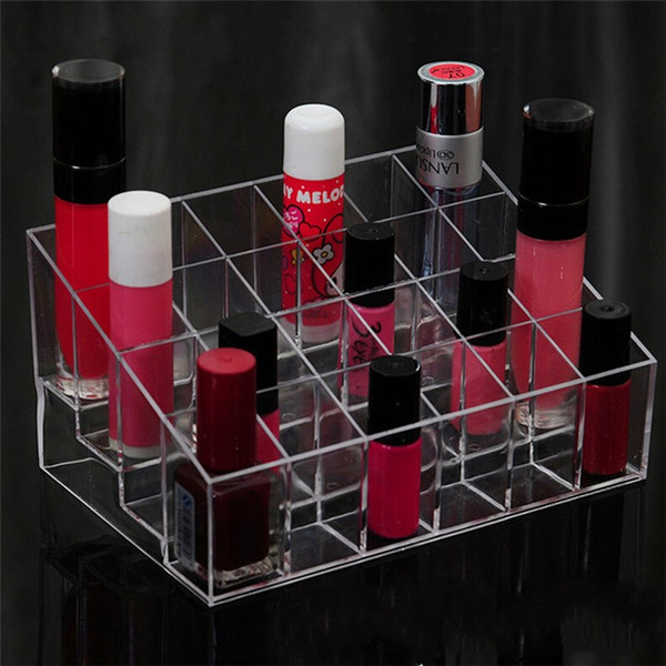 Lipstick Display Stand Plastic Storage Containers Transparant Trapezoid Shape Practical 24 Grid Jewelry Box New Arrival 3 2cr BW