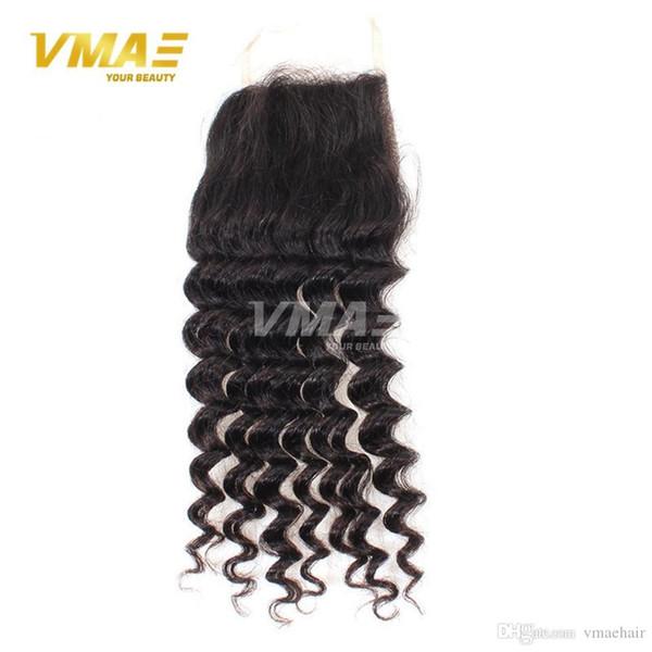 Chiusura brasiliana dei capelli del Virgin della chiusura profonda profonda della parte centrale dei capelli della regina 8A Chiusura brasiliana dei capelli del merletto dei capelli umani 4x4 di seta