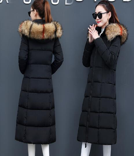 Winter new fur collar hooded women's long slim slimming padded Outerwear Parkas jacket coat
