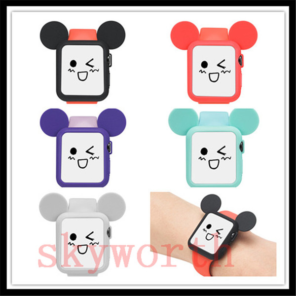 Soft Mouse Rabbit Silicone Case cover For Apple smart watch Soft TPU protective cases Shell 5 Colors Mix