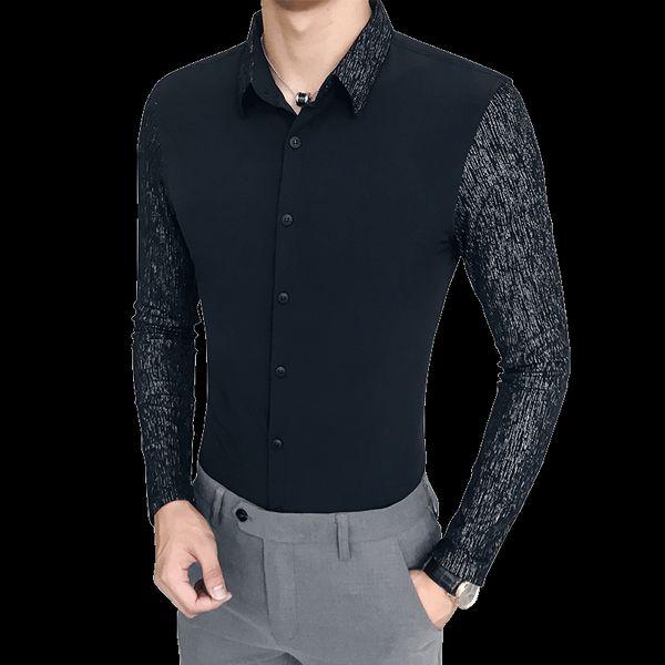 2018 New Style Men Stitching Camisas de vestir de manga larga Black White Slim Elegant Business Casual Camisa de hombre