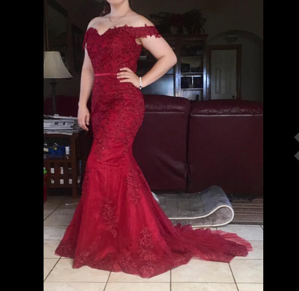 2018 Womens Off Shoulder Long Lace Evening Prom Dress Mermaid Beads 2018 Corset Back Evening Dress