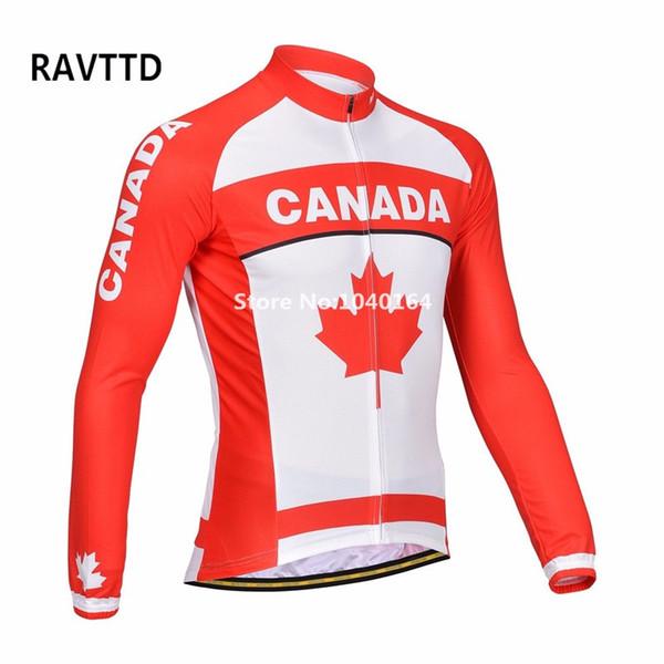 Maillot de cyclisme en molleton thermique Canada Team à manches longues VTT Maillot de cyclisme respirant Maillot Ciclismo à séchage rapide