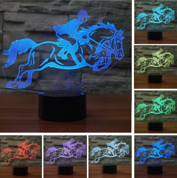 Led Sportman Lampe Tisch Lampara Visuelle Touch Riding Neuheit Großhandel Farbe Nachtlichter Dekor Horse Schlaf Man Kinder Usb Baby 7 3d POkliwXZuT
