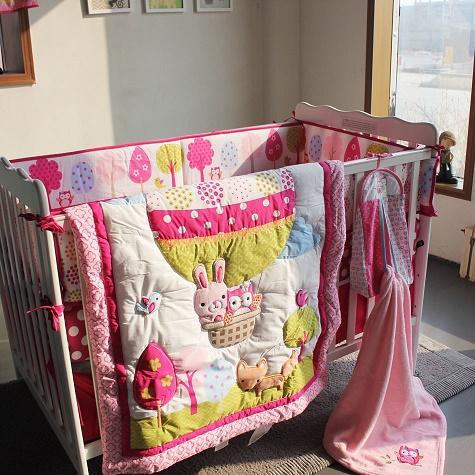 Großhandel Baby Bettwäsche Set Stickerei 3d Heißluftballon Kaninchen