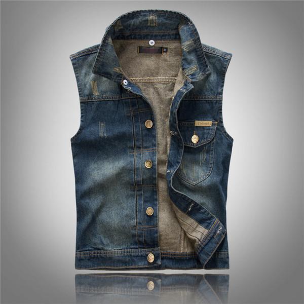2018 Men's Denim Vest With Detachable Hat Slim Short Collarless Outerwear Dark Blue Male Jeans Coats Cowboy Vintage Korea Style