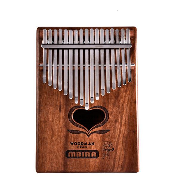 17 Key Kalimba Mahogany Thumb Piano Mbira Calimba Natural Mini Keyboard Instrument (With Tuner Hammer + Manual + Portable bag)