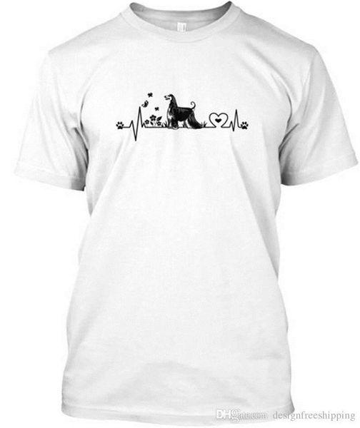 Смешная одежда Повседневные футболки Афганская борзая Сердцебиение Короткие мужские рубашки с круглым вырезом Лучший друг