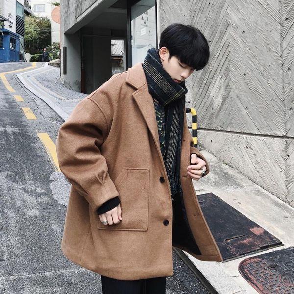 2018 Hiver coréen hommes mode marée poche décoration épaissir laine mélange long manteau lâche occasionnel Soild couleur manteaux M-XL