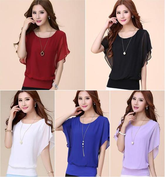 Европейский и американского 5xl Ladies T -Shirt Batwing рукав Чистой шифон блузка Мода лето вскользь Ol Изящных женщины ', S Одежда