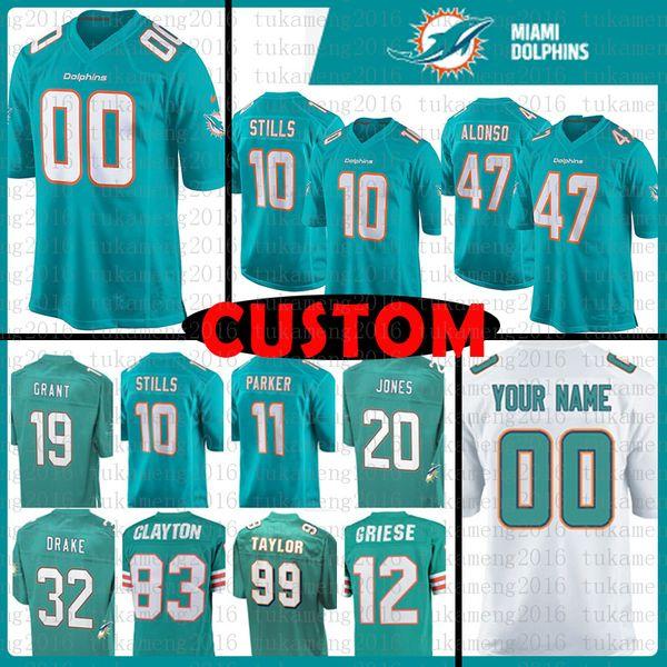 san francisco b3839 fa1af 2018 Custom Miami Dolphins Jersey 39 Larry Csonka 10 Kenny Stills 47 Kiko  Alonso 20 Reshad Jones 11 Devante Parker 99 Jason Taylor 12 Bob Griese From  ...