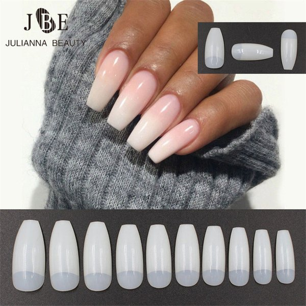 Professional Fake Nails Long Ballerina Half French Acrylic Nail Tips ...