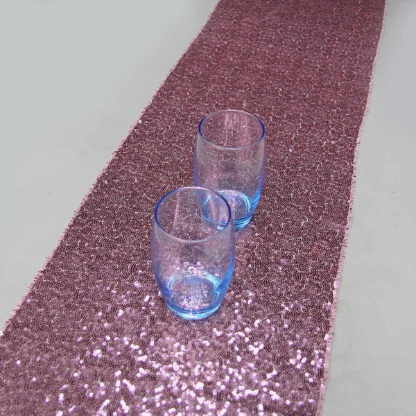 14''x90''/36cmx229cm Luxury Blush Pink Sequin Table Runner Wedding Party Table Decoration Solid Color Runners