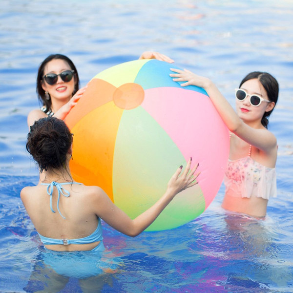 Free Shipping 1M Rainbow-Color Inflatable Beach Ball Fun Stress Ball Kid's Water Polo Birthday New Year Christmas Halloween Gift Toy